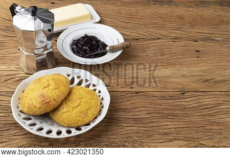 Broa, Typical Brazilian Corn Flour Bread With Butter, Jam, Coffee And Copy Space.