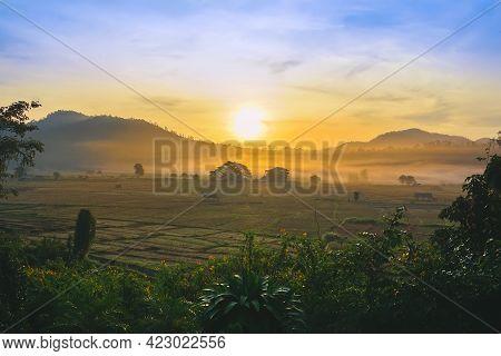 Countryside Sunrise At Khun Yuam District, Mae Hong Son Province, Thailand.