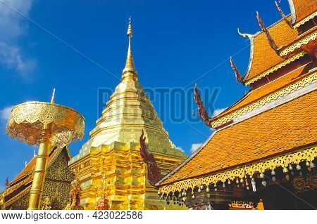 The World Famous Pagoda Phra That Doi Suthep In Chiang Mai Province, Thailand.