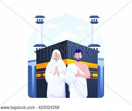 Muslim Couple Is Doing Islamic Hajj Pilgrimage. Flat Vector Illustration