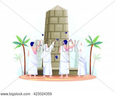 Muslims Are Throwing Stones At The Devil Pillar In Islamic Hajj Pilgrimage. Flat Vector Illustration