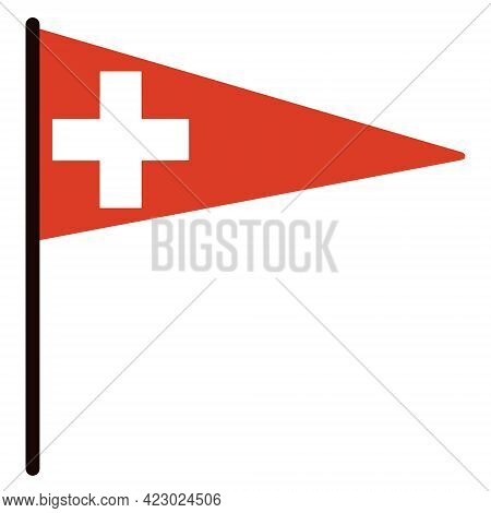 Switzerland Triangular Flag. Vector Icon. National Standard On A Stick. State Symbol. White Cross On