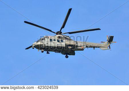 Labuan,malaysia-apr 23,2021:royal Malaysian Air Force Helicopter Eurocopter Ec725 Caracal At Labuan