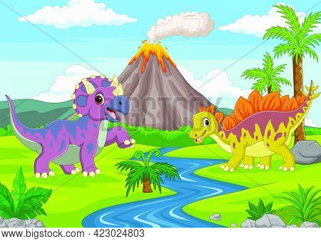 Vector Illustration Of Cartoon Funny Dinosaurs In The Jungle