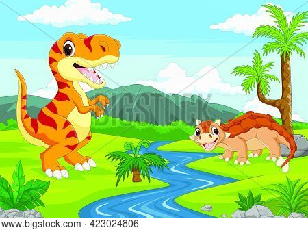Vector Illustration Of Cartoon Two Dinosaurs In The Jungle