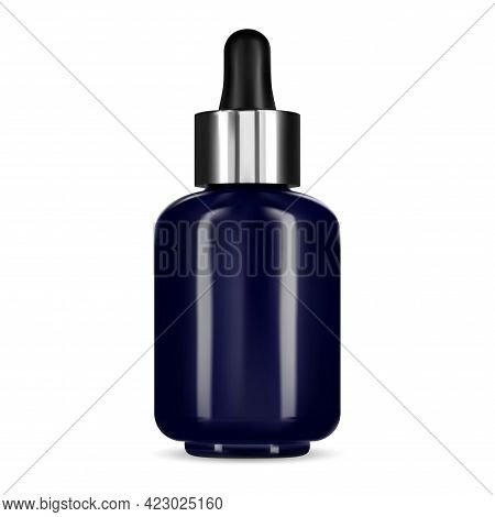 Serum Bottle With Dropper. Blue Glass Vial, Facial Cosmetic Essence. Colagen Product Flask, Natural