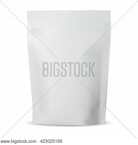 Zipper Pouch. Plastic Coffee Bag Mock Up, Foil Pack Blank On White. Isolated Tea Packet Illustration