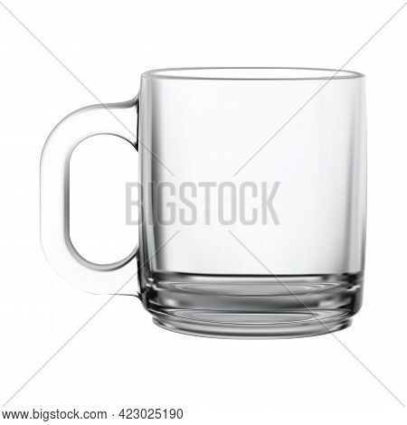 Glass Mug. Transparent Tea Cup Isolated Vector Mockup Blank. Realistic Teacup With Handle Decorative