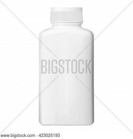 White Pill Bottle. Plastic Vitamin Jar, Vector Capsule Packaging. Medical Tablet Bottle Template Clo