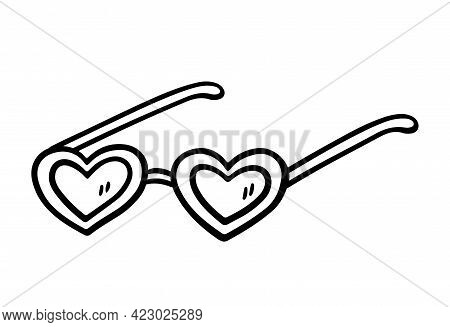 Funny Heart-shaped Sunglasses Isolated On White Background. Summer Accessory To Protect Eyes From Th