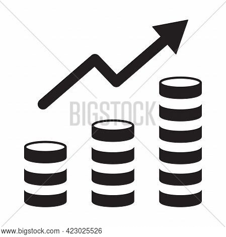 Revenue Growth Increasing Graph Icon Vector Money Trending Concept For Graphic Design, Logo, Web Sit