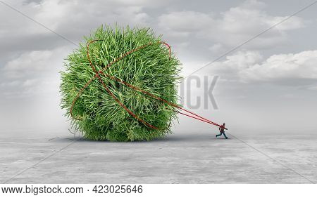 Yard Work Burden And Garden Worker Concept Or Being Tied To Your Backyard Chores As Mowing Grass And