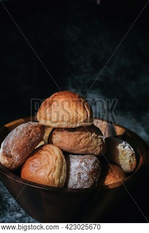 Homemade Sourdough And Bread Bun. Freshly Baked Bread. Organic Whole-wheat Loaves. Simple Breakfast