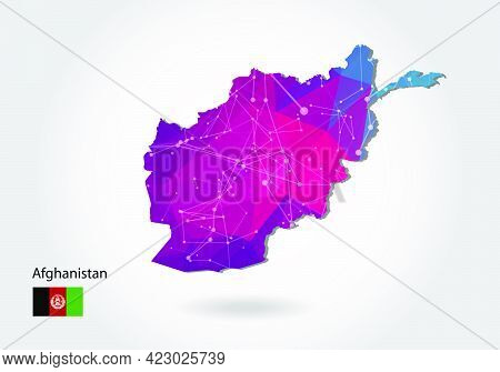 Vector Polygonal Afghanistan Map. Low Poly Design. Map Made Of Triangles On White Background. Geomet