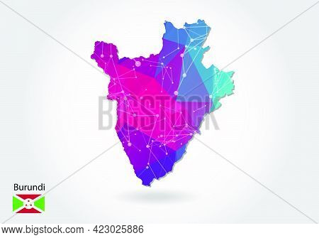 Vector Polygonal Burundi Map. Low Poly Design. Map Made Of Triangles On White Background. Geometric