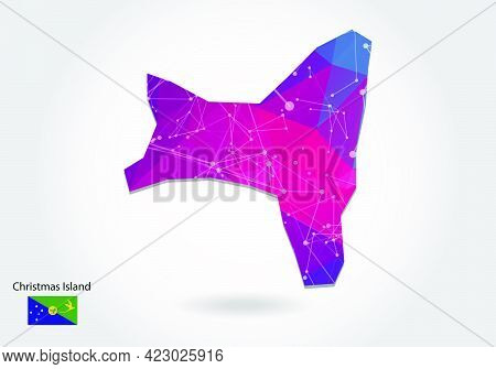 Vector Polygonal Christmas Island Map. Low Poly Design. Map Made Of Triangles On White Background. G