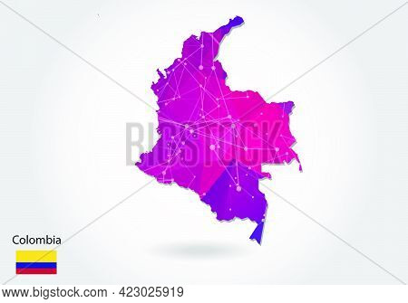 Vector Polygonal Colombia Map. Low Poly Design. Map Made Of Triangles On White Background. Geometric