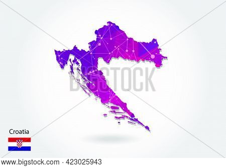 Vector Polygonal Croatia Map. Low Poly Design. Map Made Of Triangles On White Background. Geometric