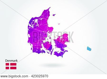 Vector Polygonal Denmark Map. Low Poly Design. Map Made Of Triangles On White Background. Geometric