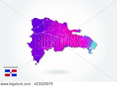 Vector Polygonal Dominican Republic Map. Low Poly Design. Map Made Of Triangles On White Background.