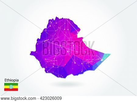 Vector Polygonal Ethiopia Map. Low Poly Design. Map Made Of Triangles On White Background. Geometric