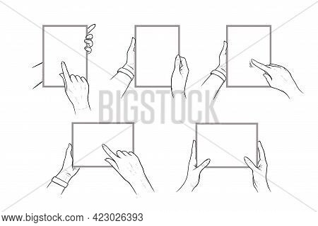 Hands Holding Tablet With With Finger Pointing In Touchscreen. Set Of Tablets In Hands Of A Human. S
