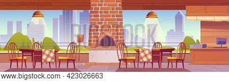 Pizzeria Or Family Outdoor Cafe With Oven For Pizza On Cityscape Background, Empty Cozy Open Air Caf
