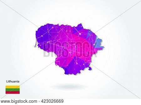 Vector Polygonal Lithuania Map. Low Poly Design. Map Made Of Triangles On White Background. Geometri
