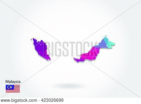 Vector Polygonal Malaysia Map. Low Poly Design. Map Made Of Triangles On White Background. Geometric