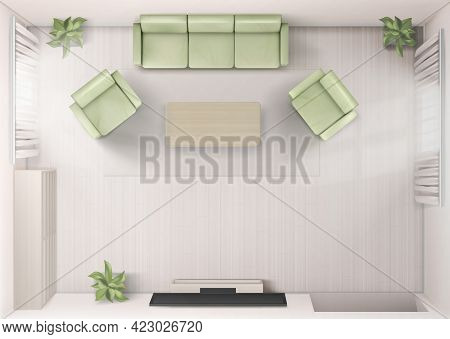 Living Room Interior Top View With Sofa, Tv, Armchairs And Coffee Table. Home Render With Television