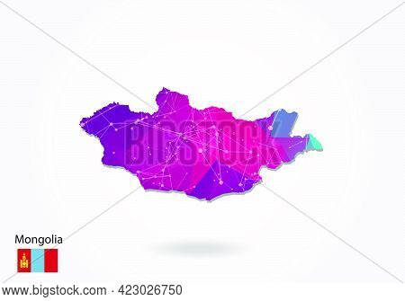 Vector Polygonal Mongolia Map. Low Poly Design. Map Made Of Triangles On White Background. Geometric