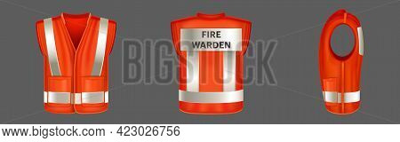 Red Safety Vest With Reflective Stripes, Uniform For Fire Warden. Vector Realistic 3d Waistcoat With