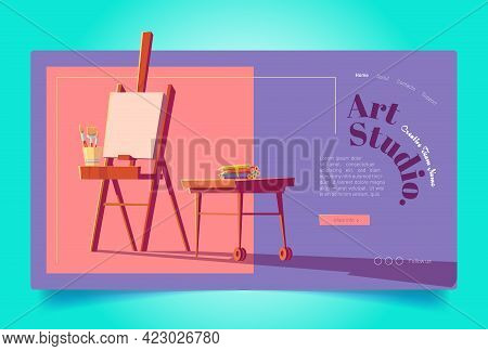 Art Studio Website. Workshop For Painters, Drawing Education. Vector Landing Page Of Artist Class Wi