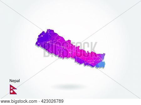 Vector Polygonal Nepal Map. Low Poly Design. Map Made Of Triangles On White Background. Geometric Ru