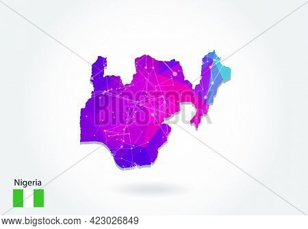 Vector Polygonal Nigeria Map. Low Poly Design. Map Made Of Triangles On White Background. Geometric