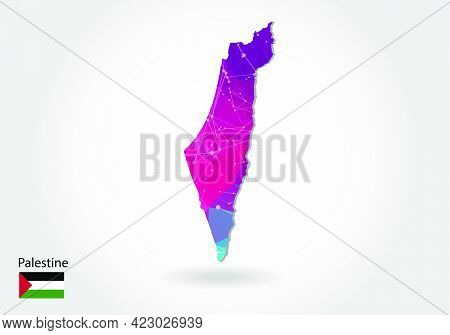 Vector Polygonal Palestine Map. Low Poly Design. Map Made Of Triangles On White Background. Geometri
