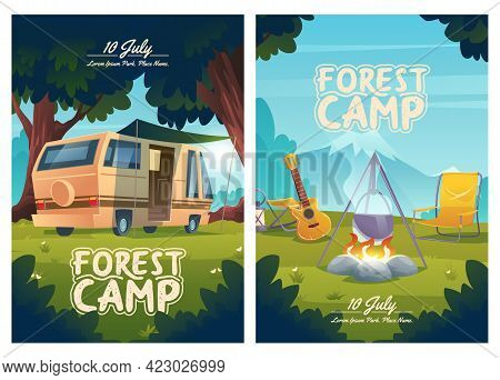 Forest Camp Cartoon Flyers, Invitation To Summer Camping. Rv Caravan, Campfire With Pot And Guitar O