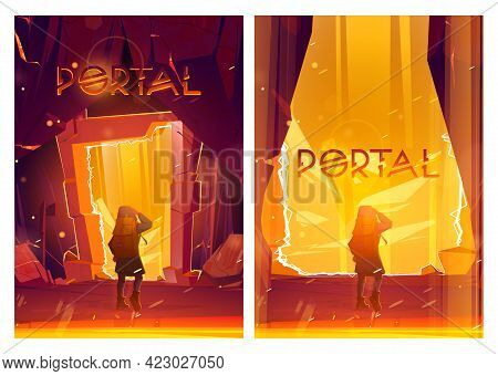 Portal Cartoon Posters With Traveler Man Stand At Magic Teleport In Stone Frame Inside Of Mountain C