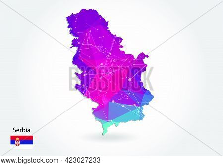 Vector Polygonal Serbia Map. Low Poly Design. Map Made Of Triangles On White Background. Geometric R