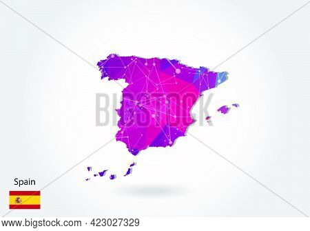 Vector Polygonal Spain Map. Low Poly Design. Map Made Of Triangles On White Background. Geometric Ru