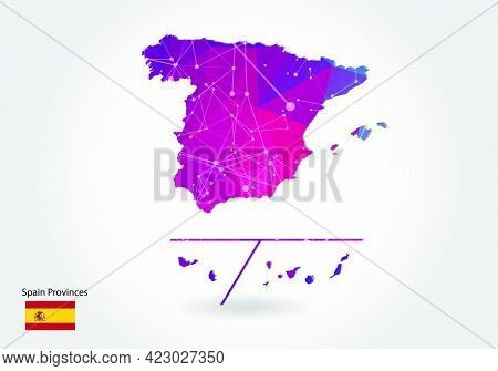 Vector Polygonal Spain Provinces Map. Low Poly Design. Map Made Of Triangles On White Background. Ge