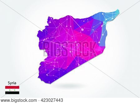 Vector Polygonal Syria Map. Low Poly Design. Map Made Of Triangles On White Background. Geometric Ru