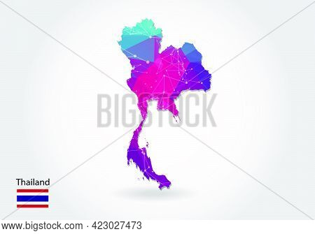 Vector Polygonal Thailand Map. Low Poly Design. Map Made Of Triangles On White Background. Geometric