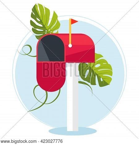 Red Mailbox On A Stick. Communication Between People. Place For Envelopes, Correspondence. The Work