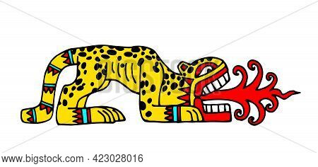 Leopard With Red Flames, Aztec Sacred Animal, Indian Traditional Pattern, Color Vector Illustration