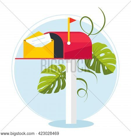 Red Mailbox On A Stick With A Letter. Communication Between People. Place For Envelopes, Corresponde