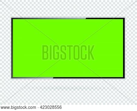 Realistic Tv Lcd Screen Mockup. Panel With Green Screen On Transparent  Background. Vector Illustrat