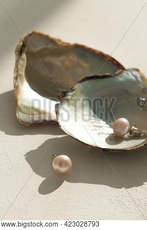 Pink Pearl Pieced Earrings Pair Fine Jewelry Isolated