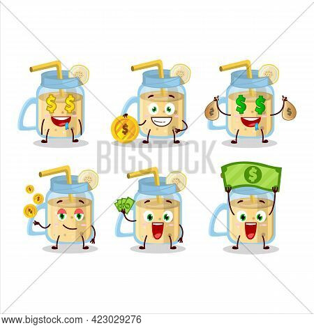 Banana Smoothie Cartoon Character With Cute Emoticon Bring Money