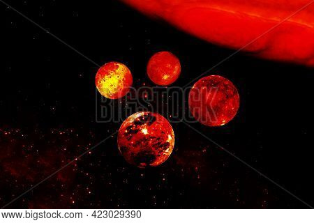 Jupiter With Satellites. Elements Of This Image Were Furnished By Nasa. High Quality Photo